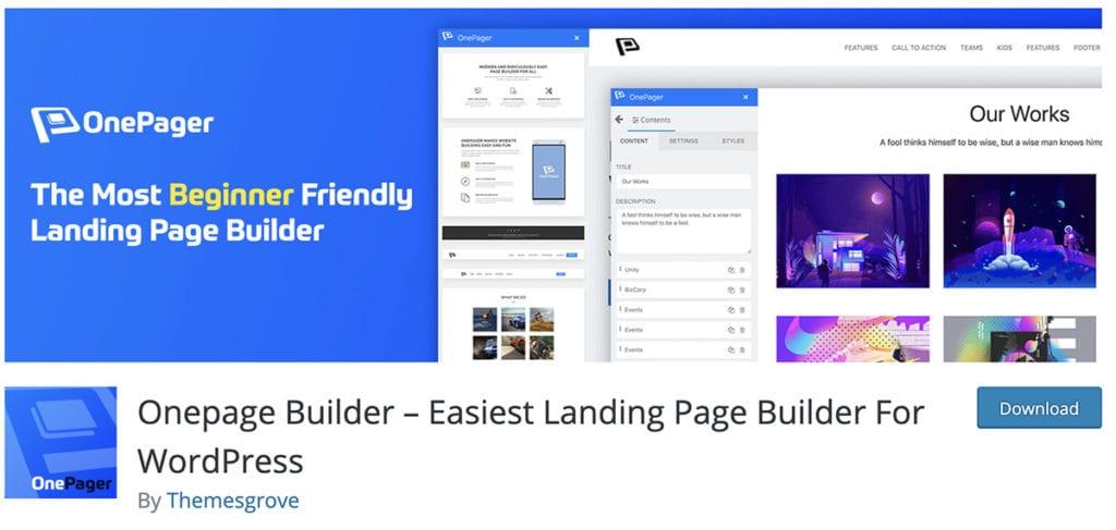 Onepage Builder - Générateur de pages de destination le plus simple pour WordPress