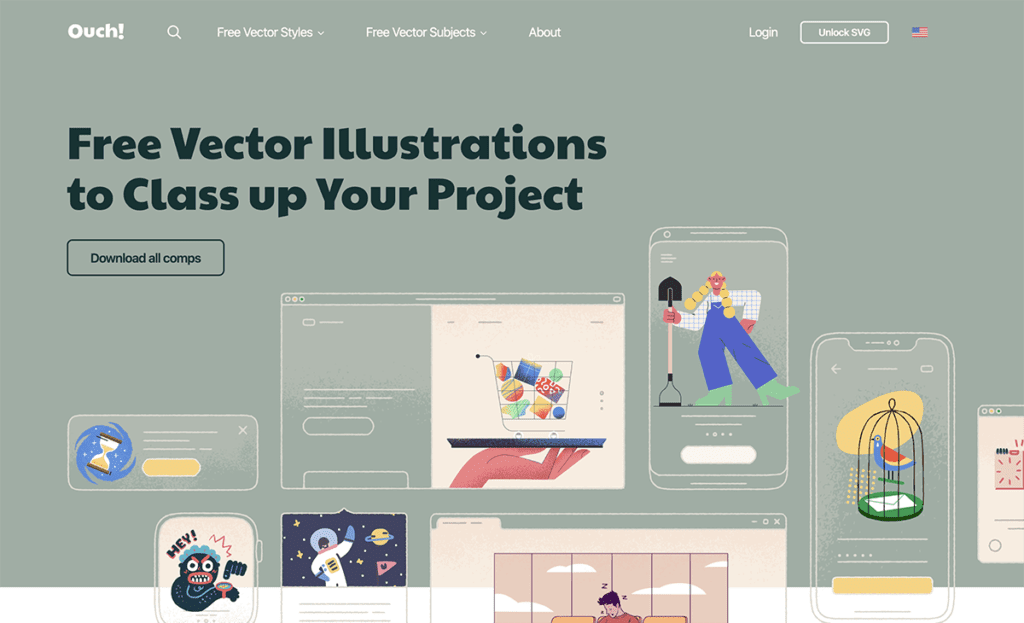Ouch - free vector illustrations for user interface
