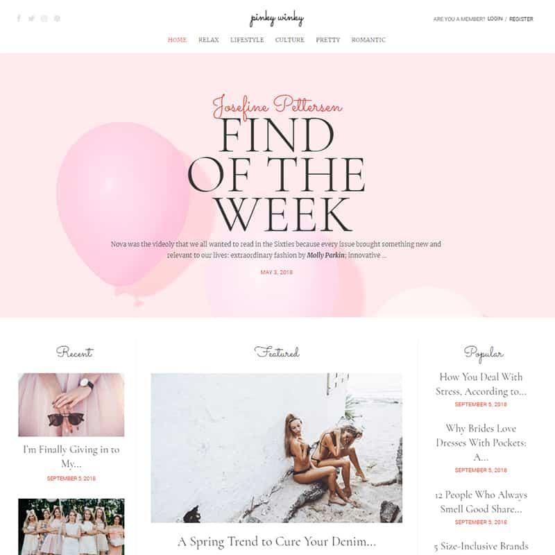 Pinky Winky - Women blog Elementor template