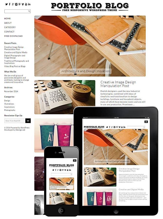 Free Portfolio Blog WordPress Theme