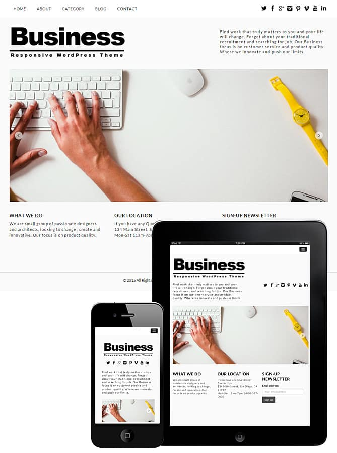 Free Business WordPress Theme 2018 - Dessign Themes