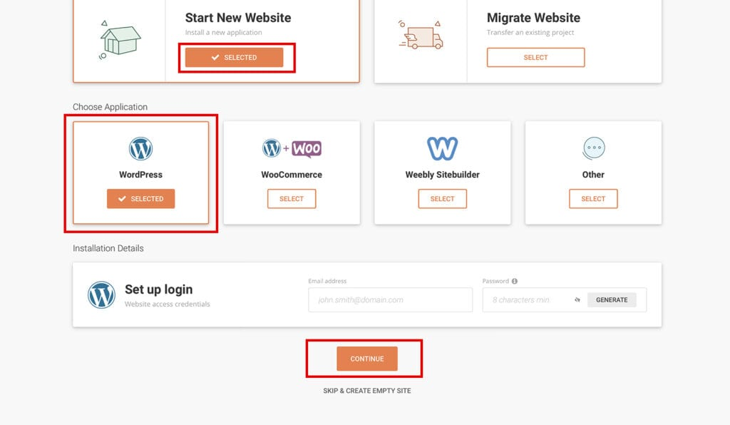 set up your login info for WordPress install