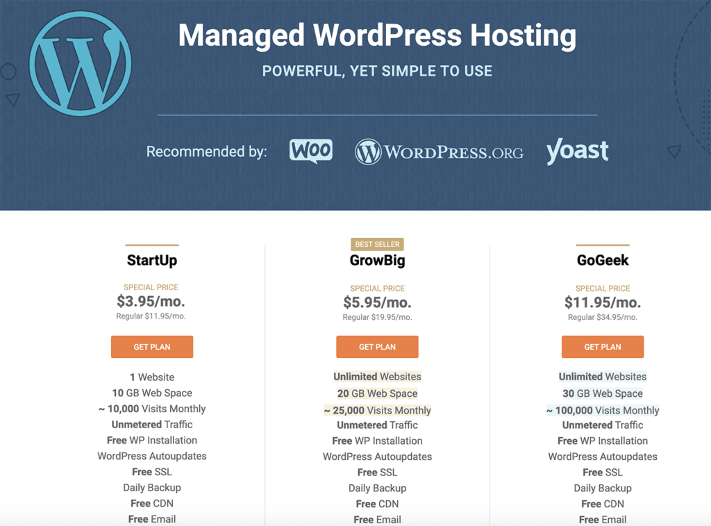SiteGround Managed WordPress Hosting Plans and Price Comparison 2020