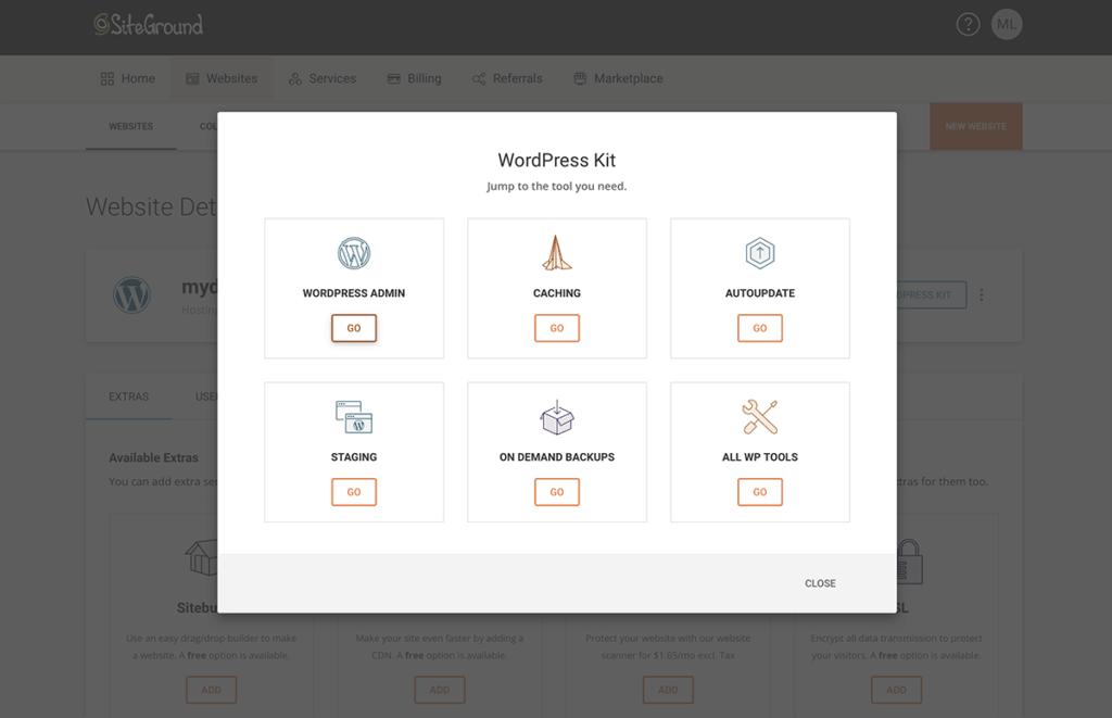 SiteGround dashboard 2020