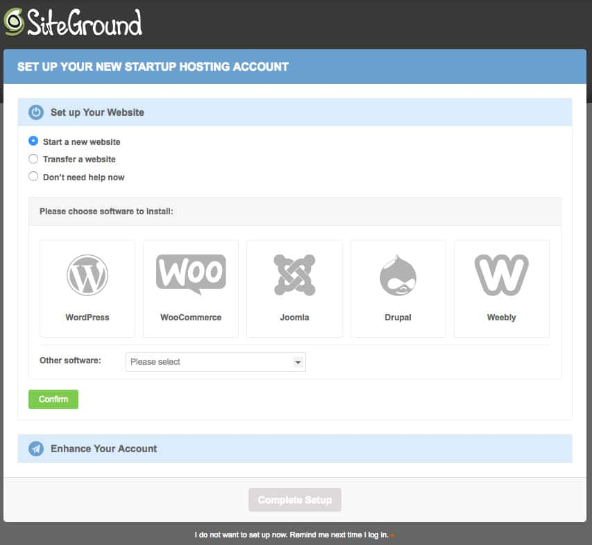 siteground new account setup