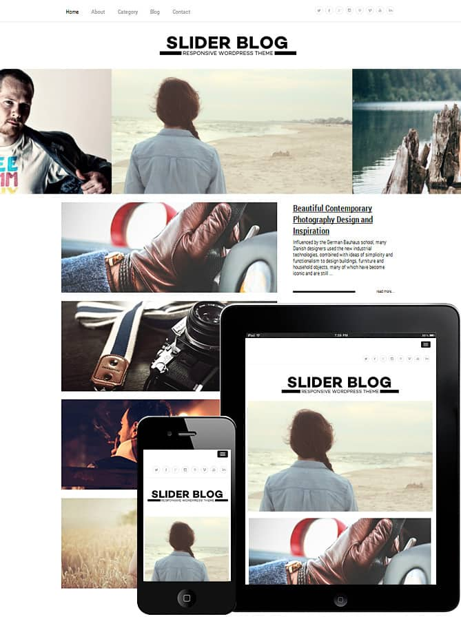BLOGGERBUZ Free WordPress Themes with Slider for Bloggers