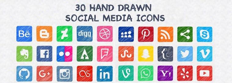30 Hand Drawn Social Media Icons – FREE