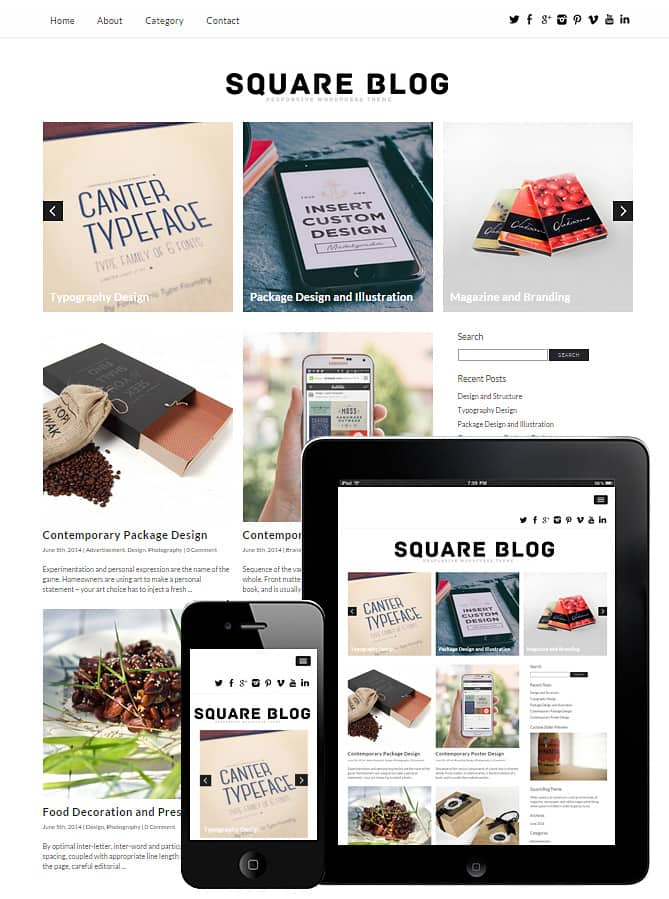 Square Blog WordPress Theme - Best WordPress Themes for Creatives ...