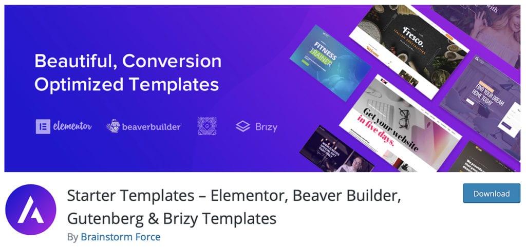 Starter Templates – Elementor, Beaver Builder, Gutenberg & Brizy Templates