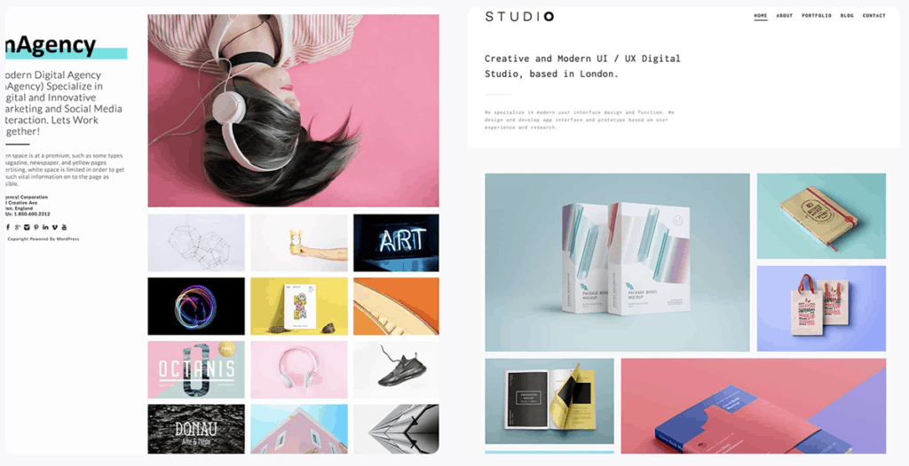 Modern Agency and Studio Portfolio WordPress Themes