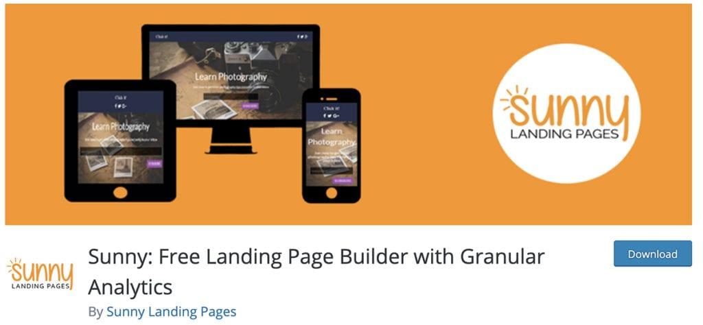 Sunny: Générateur de pages de destination gratuit avec analyse granulaire