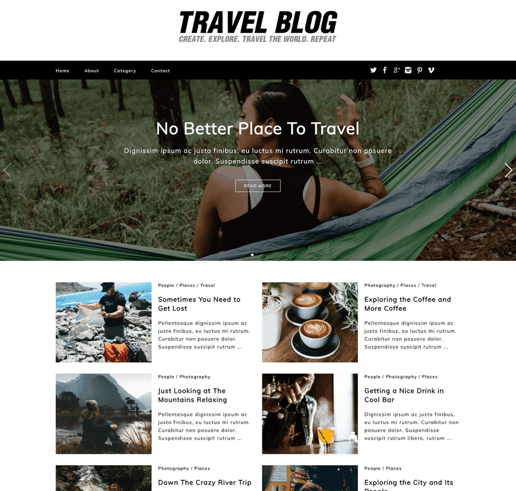 free travel blog theme