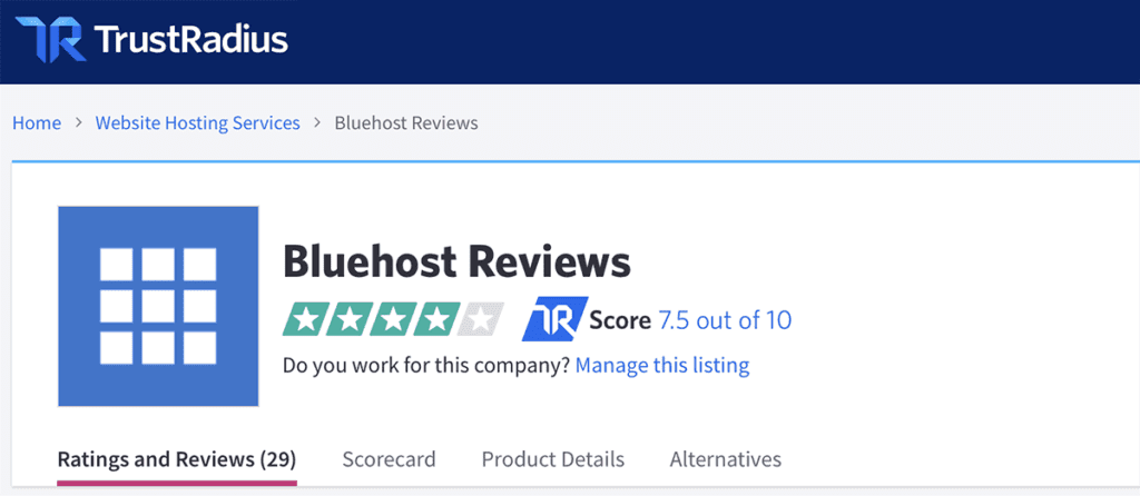 Trustradius Bluehost reviews 7.5 out of 10