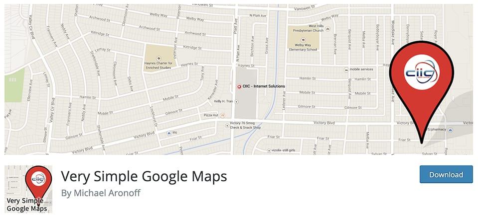 Very Simple Google Maps free plugins for wordpress