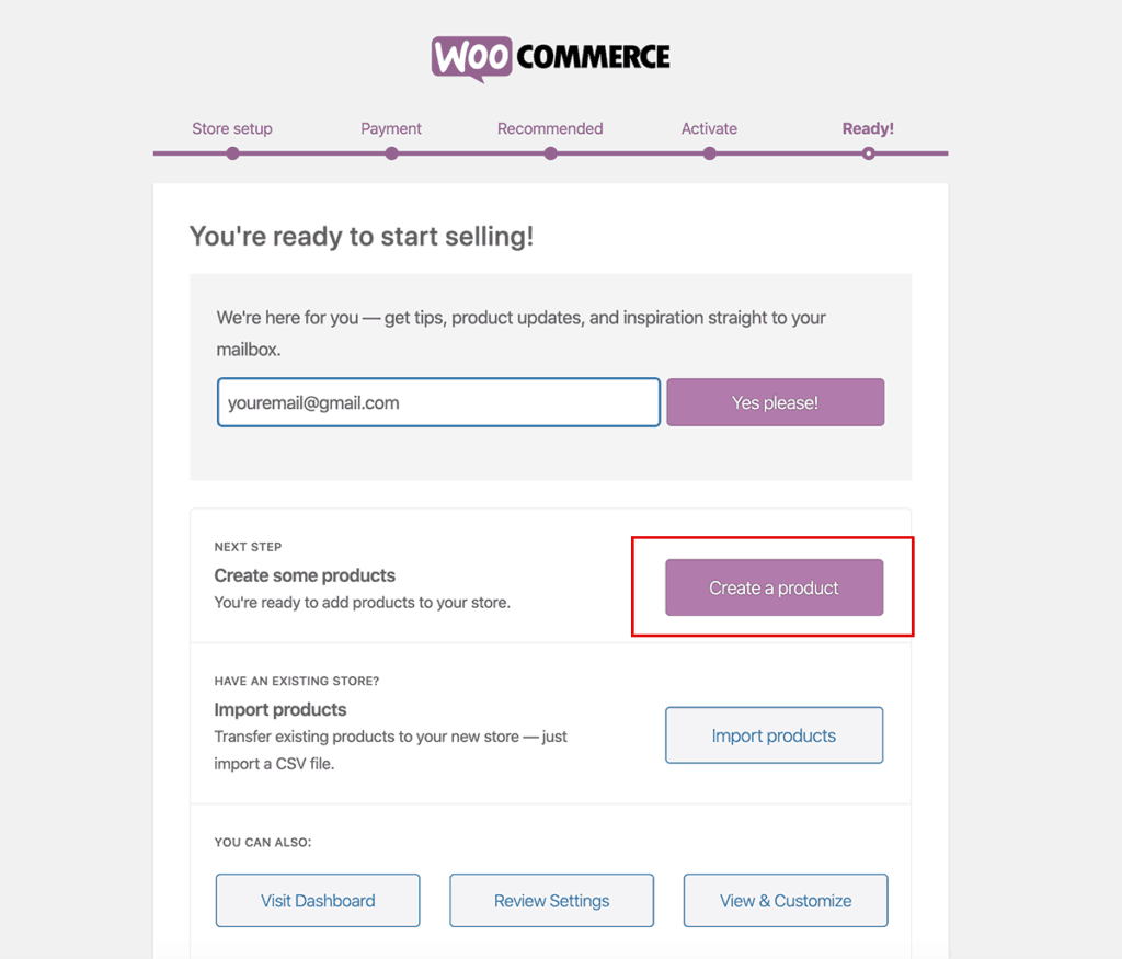 WooCommerce wizard install