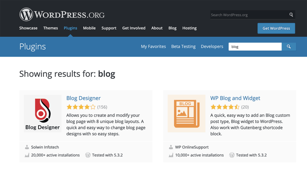 WordPress.org Plugin Directory for blog 2020