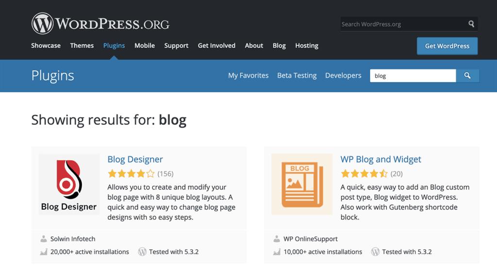 WordPress.org Plugin Directory for blog 2020