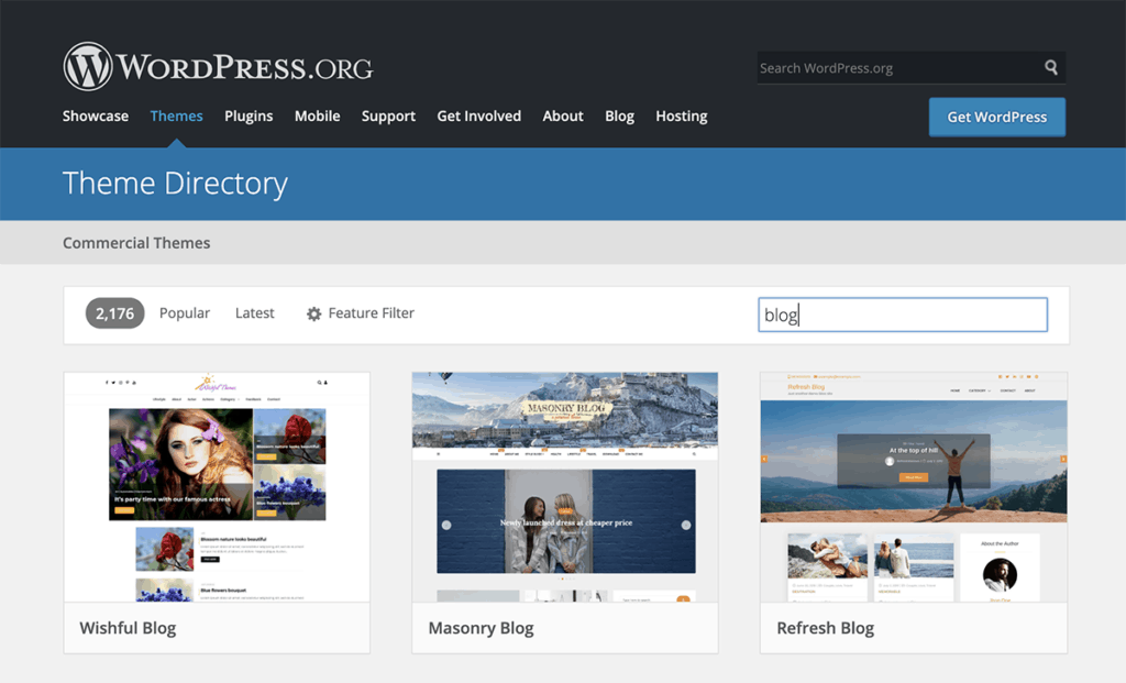 WordPress.org Blog theme Directory 2020