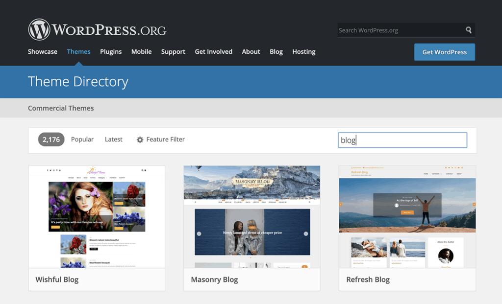 WordPress.org Blog theme Directory 2020