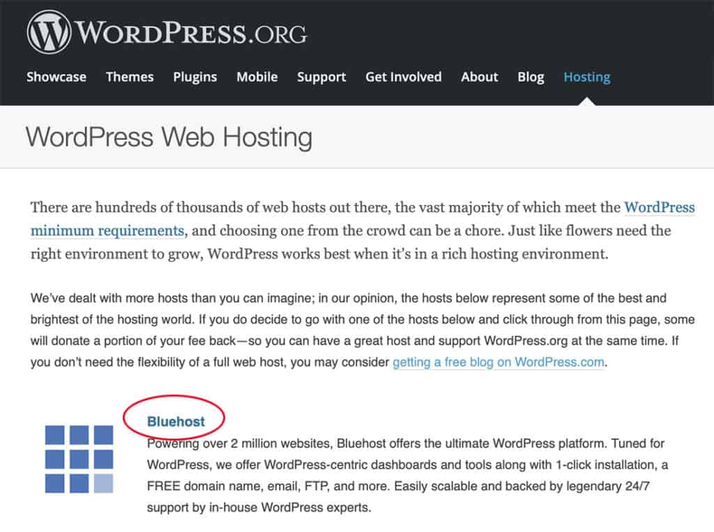 bluehost wordpress recommendation