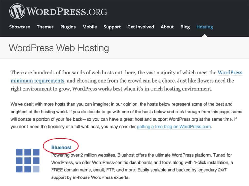 wordpress bluehost recommendation