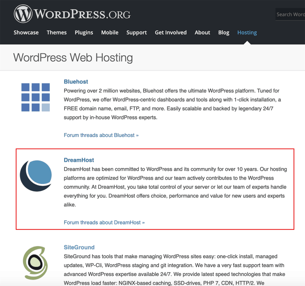 WordPress.org Recommends DreamHost 2020