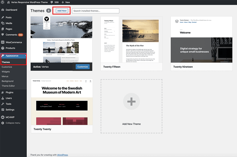Install New WordPress Theme 2020