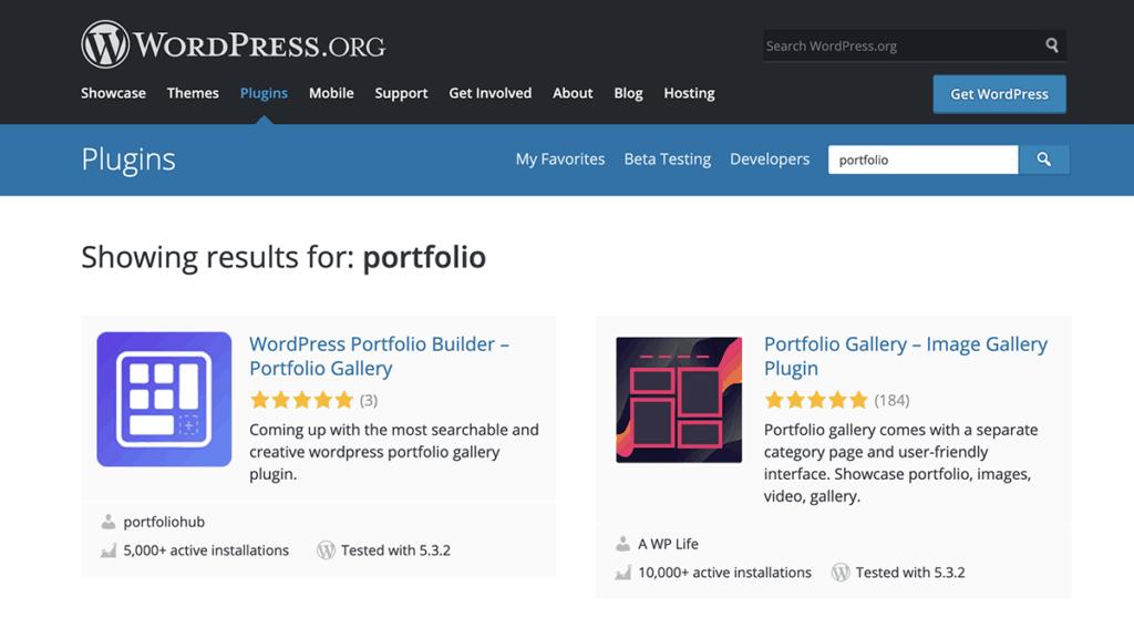 WordPress.org Portfolio Plugins Directory 2020