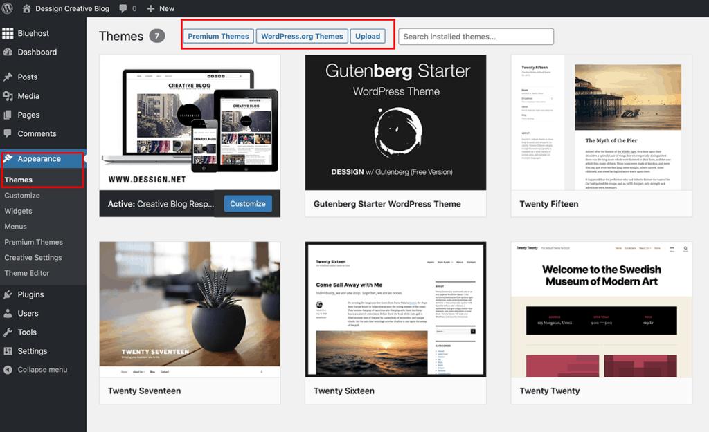 Install New WordPress Theme 2020