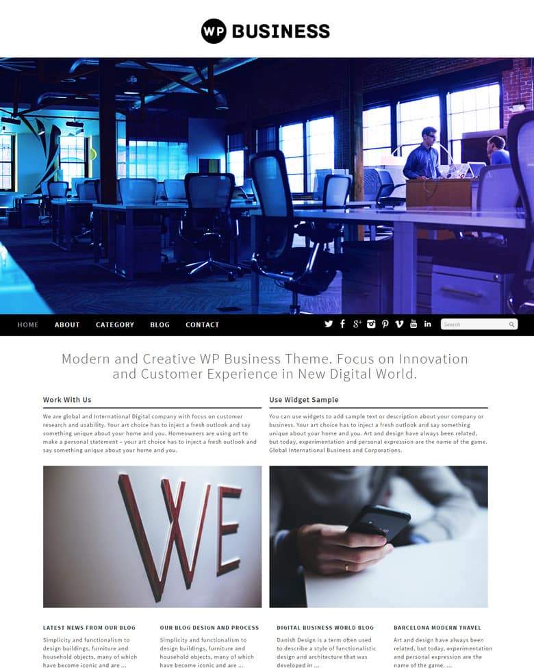Simple Business WordPress Theme Free Download Live Demo