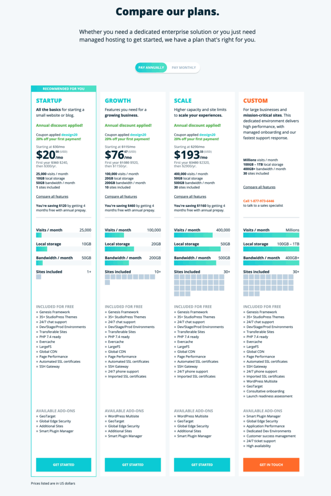WP Engine compare hosting plans for 2020
