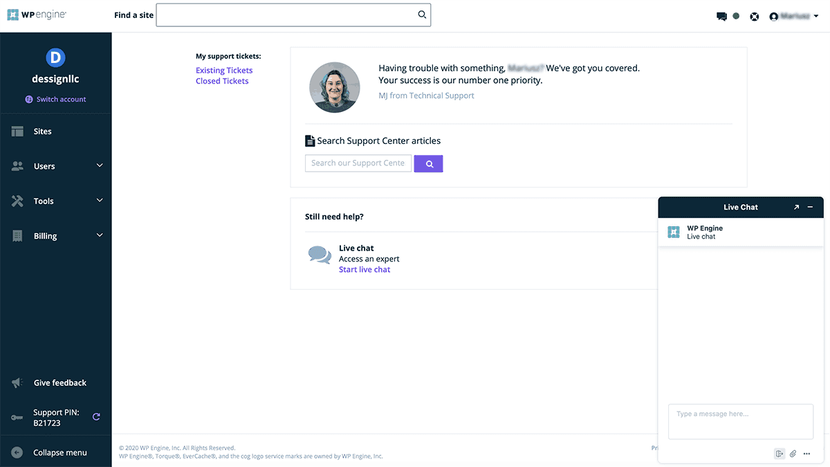 WP Engine easy live chat dashboard 2020