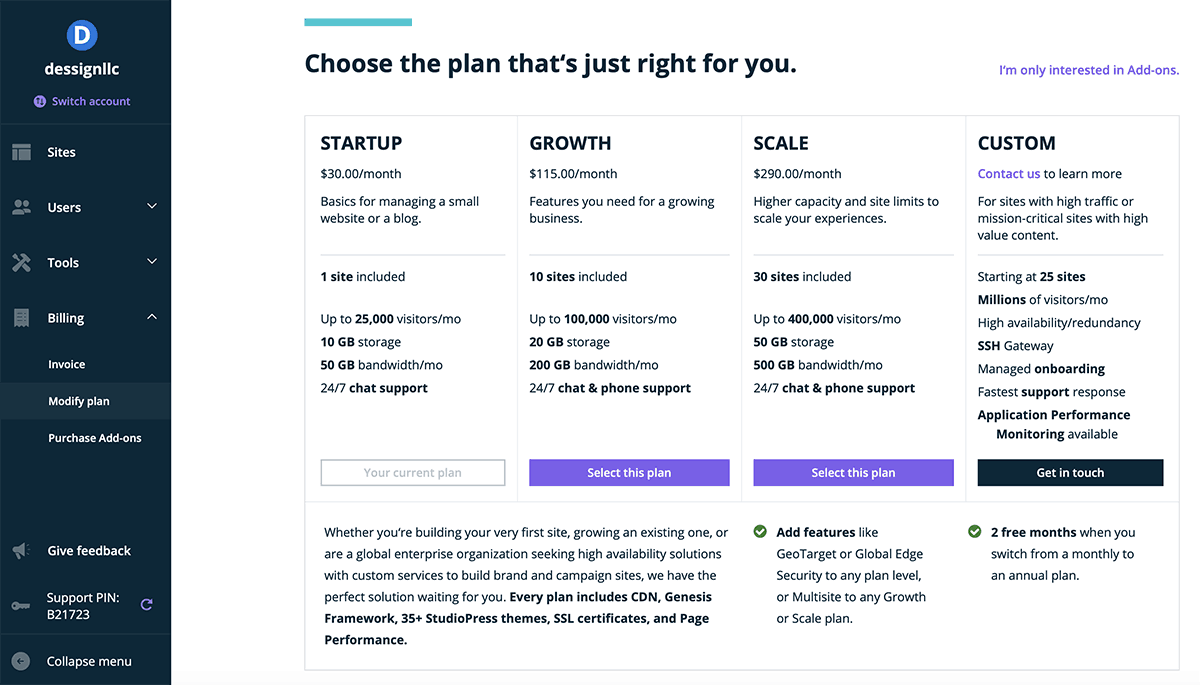 WP Engine easy downgrade plan dashboard