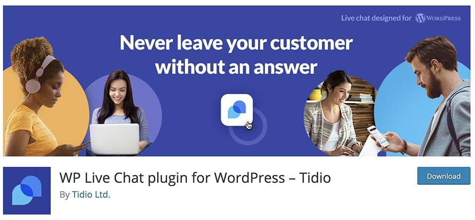 WP Live Chat plugin for WordPress – Tidio
