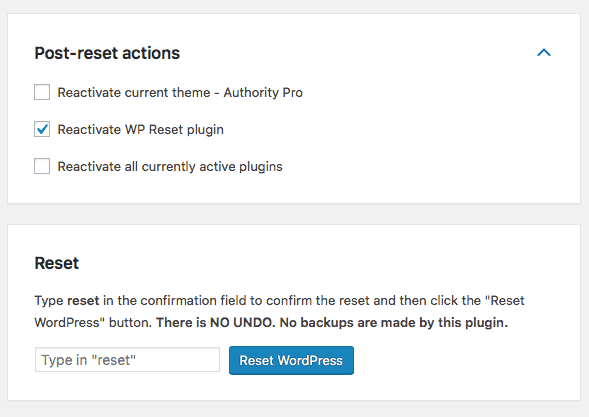 Additional WP Reset features